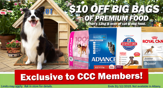 $10 OFF BIG BAGS PREMIUM FOOD – CCC ONLY