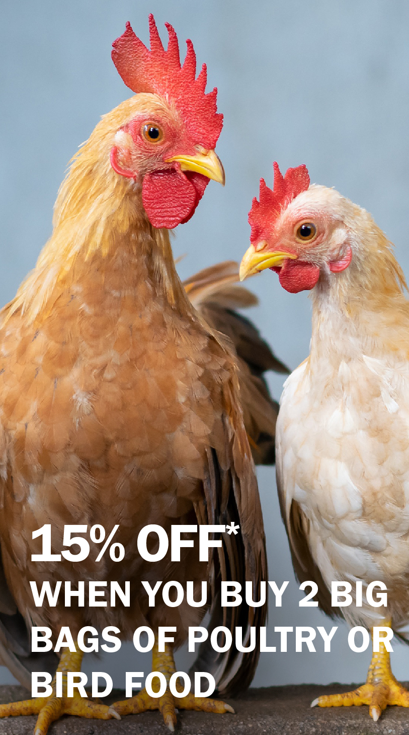 15% off when you buy 2 big bags of poultry or bird food